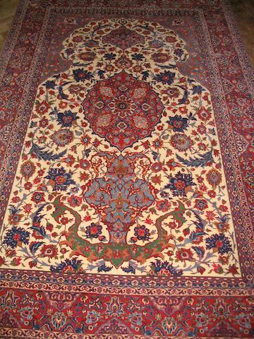 An Isfahan prayer rug Central Persia, 228cm x 144cm
