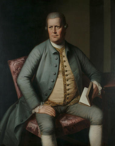 English School, 18th Century Portrait, three quarter length, of a gentleman seated, wearing a grey coat and holding a work by Virgil, 49 1/8 x 39 in. (125 x 99 cm.)
