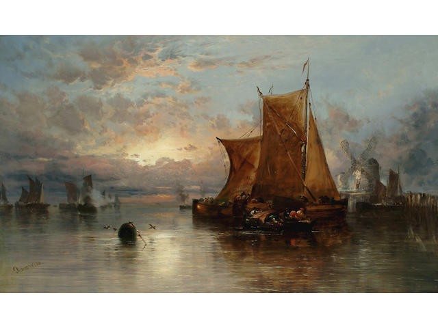 James Webb (British, 1825-1895) A Dutch harbour sunset with figures and fishing boats, 29 1/4 x 49 1/2 in. (74.5 x 126 cm.)