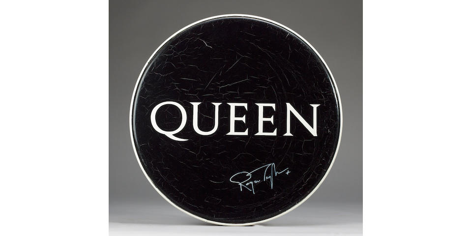 An original Queen bass drumskin, 1980s,