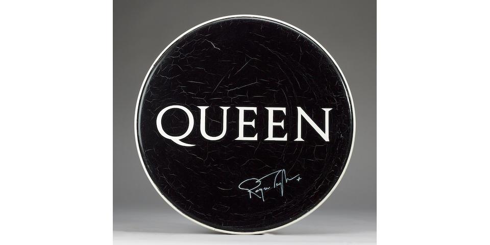 An original Queen bass drumskin, 1980s,