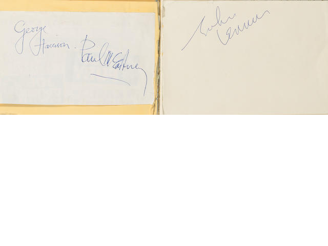 Autographs of three of the Beatles, 1960s,