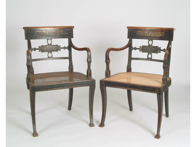 A set of six Regency painted beech elbow chairs