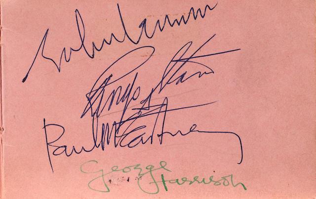 A set of Beatles autographs, 1963,