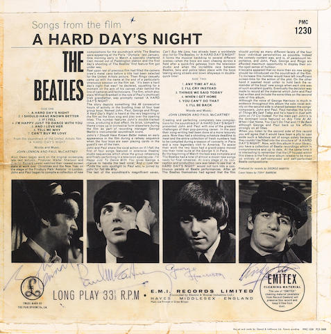 An autographed copy of the album 'A Hard Day's Night', 1964,