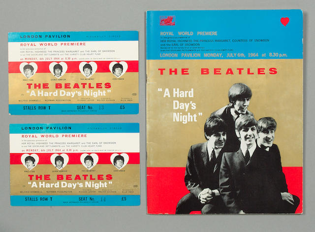 A programme and tickets for the Royal World Premiere of 'A Hard Day's Night', 1964,