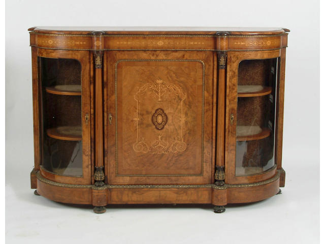 A Victorian walnut, boxwood foliate marquetry and gilt metal mounted credenza