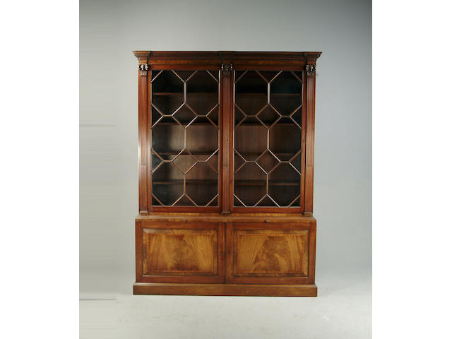 A George III style mahogany library bookcase