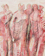 Henry Moore O.M., C.H. (1898-1986) Draped standing figures in red 38 x 30.5 cm. (15 x 12 in.)