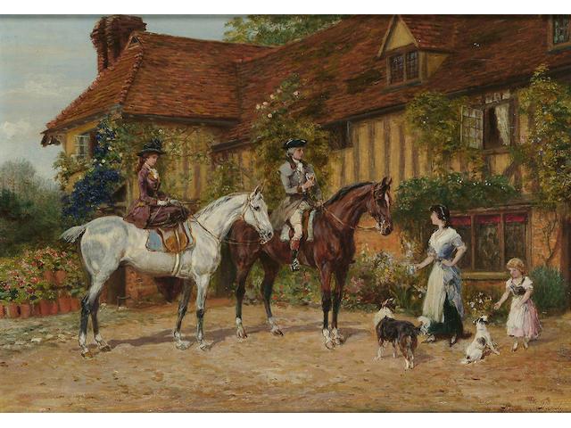Heywood Hardy (British, 1843-1933) Morning Refreshment, 9 5/8 x 13 5/8 in. (24.4 x 34.8 cm.)
