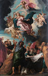Circle of Balthasar Beschey (Antwerp 1708-1776) The Assumption of the Virgin 71 x 46.5 cm. (28 x 18