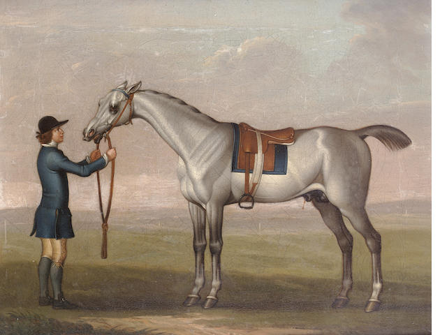 James Seymour (London 1702-1752) A grey racehorse 30 x 37.7 cm. (11¾ x 14 7/8 in.)