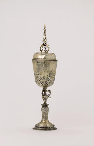 A James I silver-gilt steeple cup and cover, by F. Terry, 1623, fully marked around rim of bowl, lio
