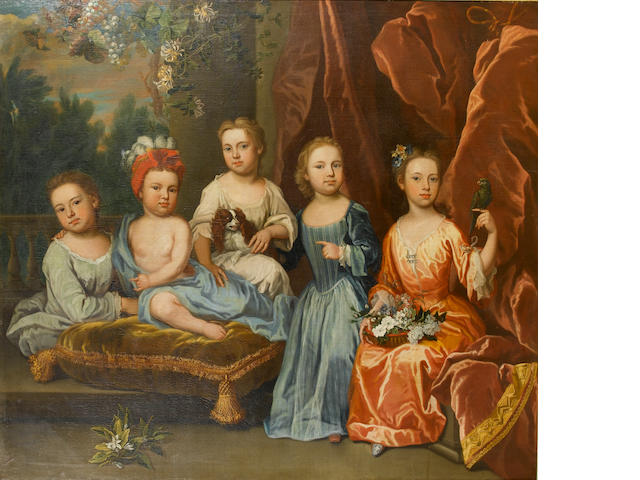James Maubert (Ireland 1666-1746 London) A portrait group of the Aynscombe children, 155.5 x 175.5 c