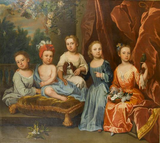 James Maubert (Ireland 1666-1746 London) A portrait group of the Aynscombe children, 155.5 x 175.5 c
