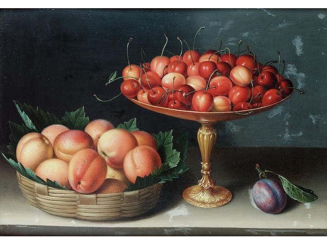 Louise Moillon (Paris 1610-1696) A basket of apricots  43.2 x 29.5 cm. (17 x 11 5/8 in.) in a seventeenth century Italian cassetta frame