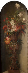 French School, early 19th Century Tulips, carnations, peonies, morning glory  144.5 x 61 cm. (56 7/8