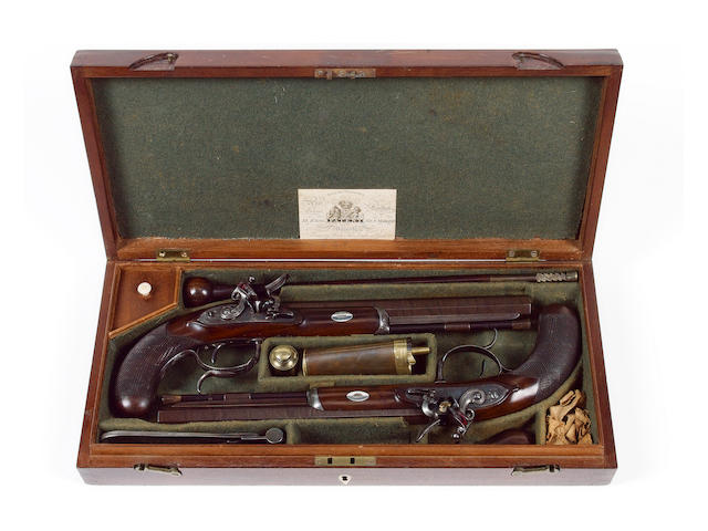 A Fine Cased Pair Of 40-Bore Flintlock Duelling Pistols