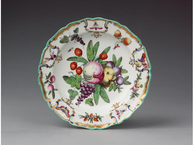A very fine Worcester plate from the Duke of Gloucester Service circa 1775