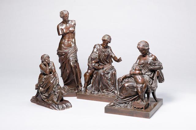 Schaenewerk (German, fl. late 19th century): A bronze figure of a seated muse