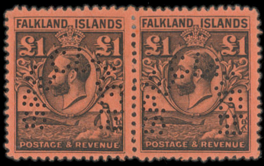 """An optd. or perf'd """"SPECIMEN"""" selection with Bechuanaland 1887 £1, Falkland Is. 1929-36 10/- and £1 in horizontal pairs, Gambia duplicated range inc. K.E.VII values to 3/-, K.G.V values to 4/- and 5/-, St. Vincent inc. 1899 CA ½d. to 5/-, 1902 CA ½d. to 5/-, 1938-47 to £1, and Tanganyika 1927-31 values inc. 2/- to £1, etc., some faults but mainly fine."""