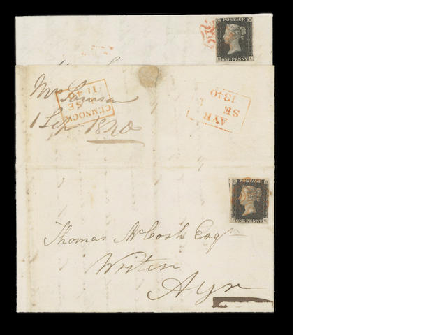 1840 1d. Plate IV: HA used on 1840 (Aug. 29th) E. from Kilmarnock to Bigg via Auchenleck, the cover turned and re-franked by plate VI PG, and sent to Ayr on Sept 1st, Ha touched at top, otherwise fine. (271)