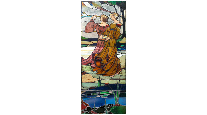 Scottish, Circa 1890, An Arts & Crafts stained glass panel (in three sections),