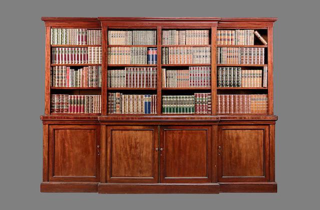 A Victorian mahogany break front open library bookcase