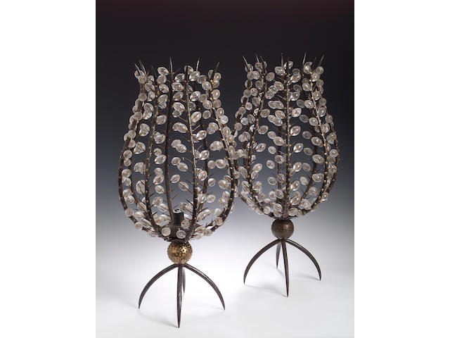 Andre Dubreuil, A pair of 'Fleur' iron and glass candlestands,