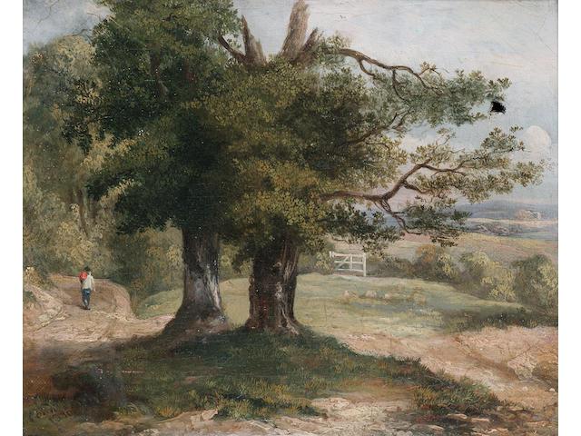 James Arthur O'Connor (Irish 1792-1841) Figure on a woodland path, 20 x 25 cm. (8 x 10 in.)