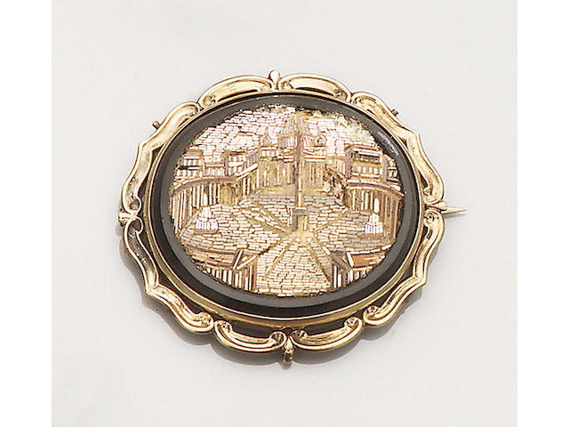 A 19th century micro-mosaic brooch