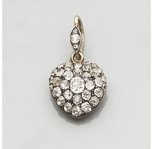 A late Victorian diamond heart-shaped pendant