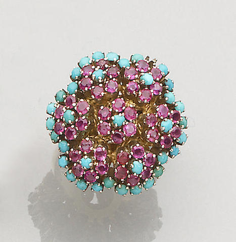 A ruby and turquoise cluster ring