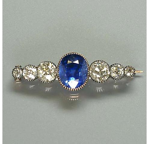 A late Victorian sapphire and diamond bar brooch