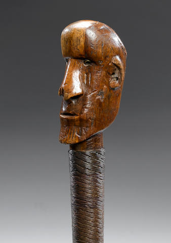 A Ntwane/Pedi Cephalomorphic Staff 58cm. long for a related staff with angular features, see K. Conr
