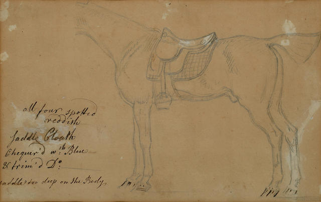 Attributed to James Seymour (British, 1702-1752) Sketch of the body of a horse, 6 1/2 x 10 1/4 in (1