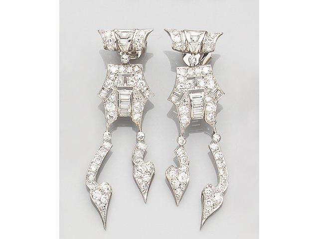 A pair of diamond-set earpendants