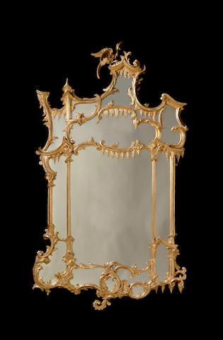 A Chippendale revival giltwood pier mirror
