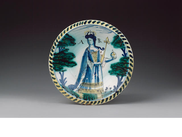An English Delft Queen Anne charger circa 1702-14