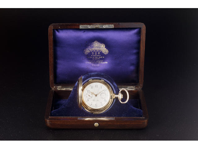 A fine and rare late 19th century 18ct rose gold split second minute repeating hunter cased keyless