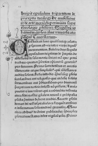 GERSON (JOHANNES) Opus tripartium, de preceptis decalogi de confessione et de arte moriedi