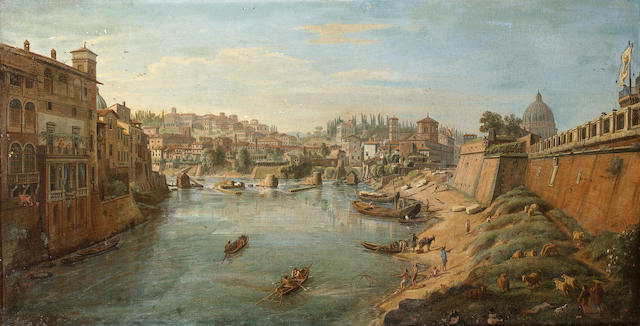 Gaspar van Wittel, called Vanvitelli (Utrecht 1653-1736 Rome) The Tiber beneath the bastions of the Castel Sant' Angelo, Rome 43 x 84.5 cm. (17 x 33¼ in.)