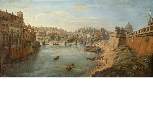 Gaspar van Wittel, called Vanvitelli (Utrecht 1653-1736 Rome) The Tiber beneath the bastions of the