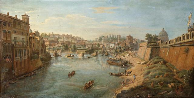 Gaspar van Wittel, called Vanvitelli (Utrecht 1653-1736 Rome) The Tiber beneath the bastions of the