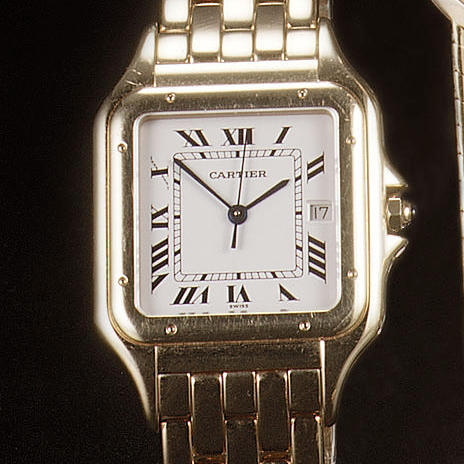 Cartier. An 18ct gold calendar bracelet watch Panther, recent