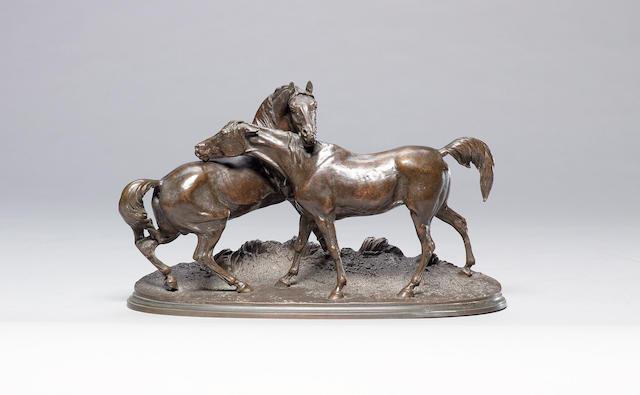 Pierre Jules Mêne (French, 1810-1879): A bronze model of 'L'Accolade'