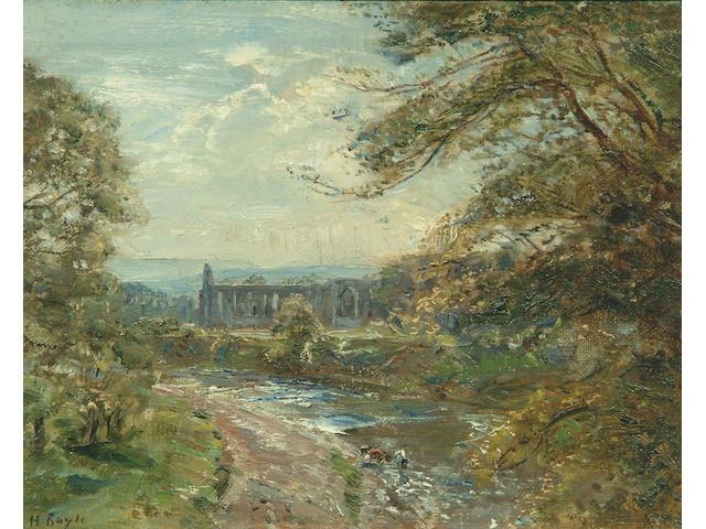 """Herbert F. Royle (1870-1958) """"Bolton Abbey"""" 20 x 24cm."""