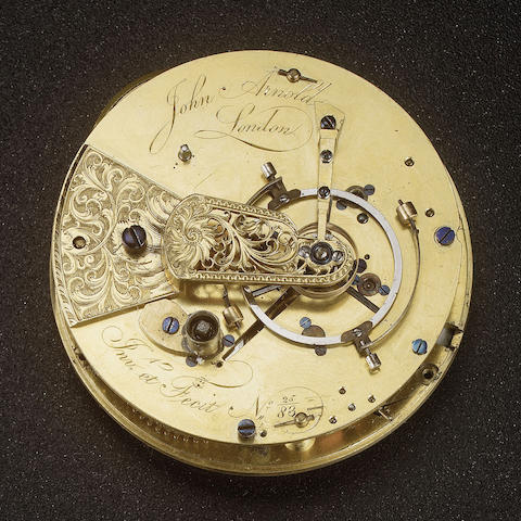 A fine and rare late 18th century pocket chronometer movement of the 'best kind'  John Arnold, Londo