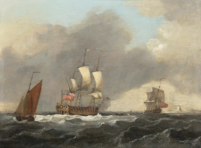 Francis Swaine (British, d.1782) A sixth rate running up the Channel off the old Dungeness lighthouse 15.2 x 20.3cm. (6 x 8in.)
