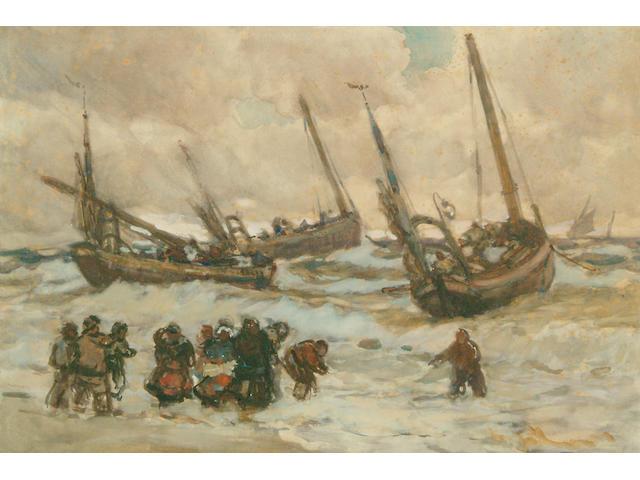 Joseph John Richard Bagshawe R.B.A. (1870-1909) Fishing boats and figures on the North Atlantic coast 36 x 53cm.